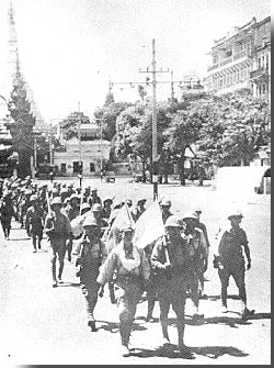 Japanese marching in Rangoon