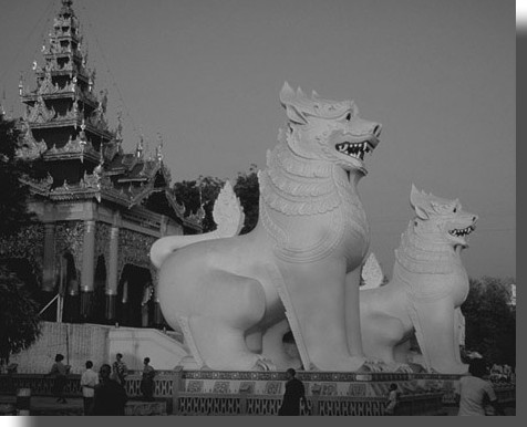 Burmese Chinthe statues