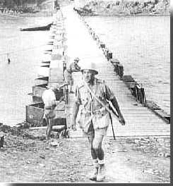South African troops crossing pontoon bridge